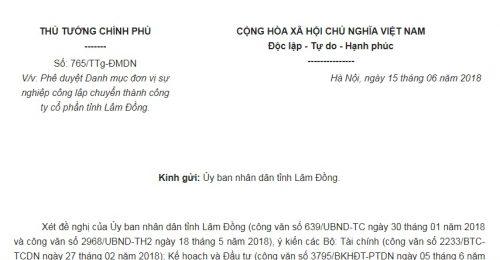 Công Văn 765/TTg-ĐMDN năm 2018 Danh mục đơn vị sự nghiệp công lập chuyển thành công ty cổ phần tỉnh Lâm Đồng