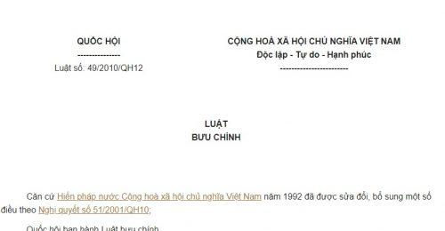 Luật Bưu chính năm 2010