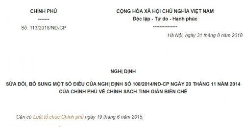 Nghị Định 113/2018/NĐ-CP sửa đổi Nghị định 108/2014/NĐ-CP về chính sách tinh giản biên chế
