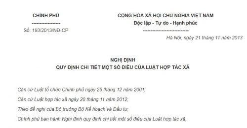 Nghị Định 193/2013/NĐ-CP hướng dẫn Luật Hợp tác xã