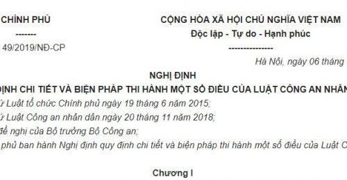 Nghị định 49/2019/NĐ-CP hướng dẫn Luật Công an nhân dân