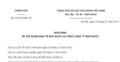Nghị Định 69/2014/NĐ-CP về tập đoàn kinh tế Nhà nước và tổng công ty Nhà nước