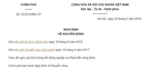 Nghị Định 83/2018/NĐ-CP về khuyến nông