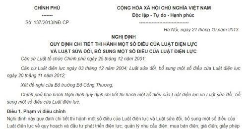 Nghị định 137/2013/NĐ-CP hướng dẫn Luật Điện lực