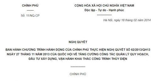 Nghị quyết 11/NQ-CP về việc ban hành Chương trình hành động của Chính phủ về việc thực hiện Nghị quyết 62/2013/QH13
