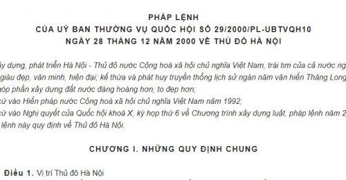 Pháp lệnh 29/2000/PL-UBTVQH10 về Thủ đô Hà Nội năm 2000