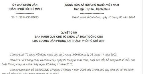 Quyết Định 11/2014/QĐ-UBND  Hồ Chí Minh về việc ban hành Quy chế tổ chức và hoạt động của lực lượng dân phòng tại Thành phố Hồ Chí Minh