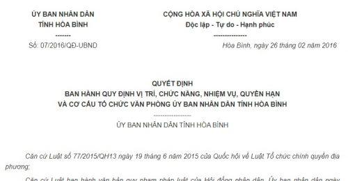 Quyết Định 07/2016/QĐ-UBND cơ cấu tổ chức Văn phòng UBND tỉnh Hoà Bình
