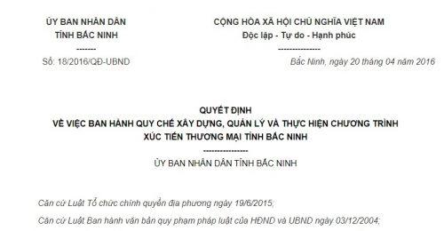 Quyết Định 18/2016/QĐ-UBND về thực hiện chương trình xúc tiến thương mại tỉnh Bắc Ninh
