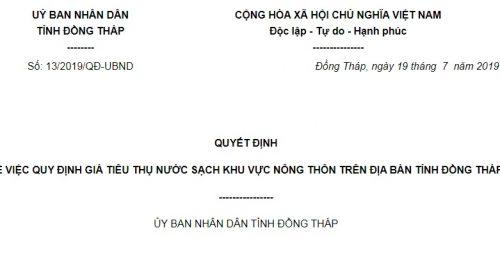 Quyết Định 13/2019/QĐ-UBND Đồng Tháp về giá nước sạch khu vực nông thôn tỉnh Đồng Tháp