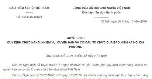 Quyết Định 1414/QĐ-BHXH 2016 về quyền hạn và cơ cấu tổ chức của Bảo hiểm xã hội Việt Nam
