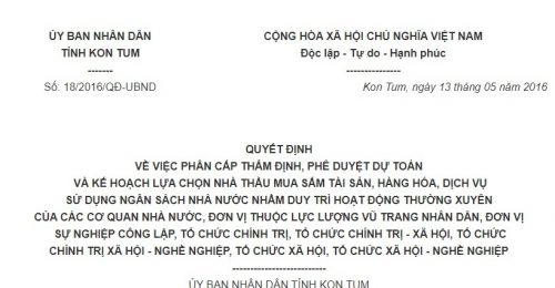 Quyết định 18/2016/QĐ-UBND lựa chọn nhà thầu mua sắm tài sản, hàng hóa, dịch vụ tỉnh Kon Tum