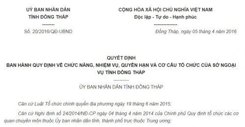 Quyết Định 20/2016/QĐ-UBND Đồng Tháp về cơ cấu tổ chức của Sở Ngoại vụ