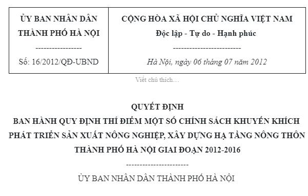 Quyết định 16/2012/QĐ-UBND Ban hành Quy định về chính sách phát triển Nông nghiệp