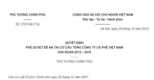 Quyết Định 2101/QĐ-TTg của Thủ tướng Chính phủ về việc phê duyệt Đề án tái cơ cấu Tổng công ty Cà phê Việt Nam giai đoạn 2012 – 2015