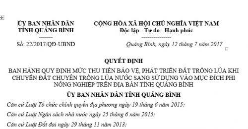 Quyết Định 22/2017 của Uỷ ban nhân dân tỉnh Quảng Bình về mức thu tiền bảo vệ, phát triển đất trồng lúa nước