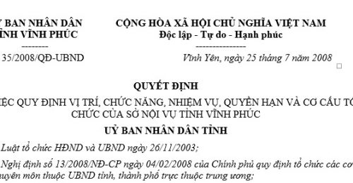 Quyết Định 35/2008/QĐ-UBND về vị trí, chức năng, nhiệm vụ, quyền hạn và cơ cấu tổ chức của sở nội vụ tỉnh Vĩnh Phúc