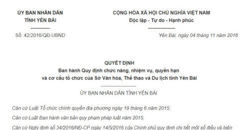 Quyết Định 42/2016/QĐ-UBND Yên Bái ban hành Quy định cơ cấu tổ chức của Sở VHTTDL Yên Bái