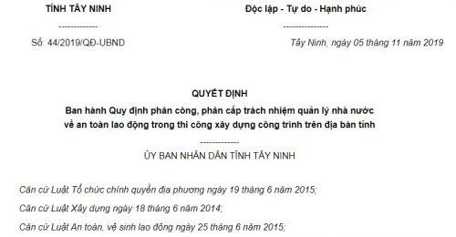 Quyết Định 44/2019/QĐ-UBND Tây Ninh quản lý Nhà nước về an toàn lao động trong xây dựng