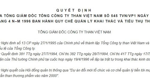 Quyết Định 545/TVN/VP1 của Tổng công ty Than Việt Nam về việc ban hành Quy chế quản lý khai thác và tiêu thụ than
