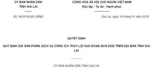 Quyết định 04/2019/QĐ-UBND Gia Lai về giá sản phẩm, dịch vụ công ích thủy lợi