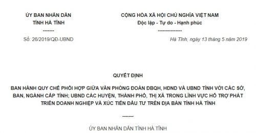 Quyết định 26/2019/QĐ-UBND Hà Tĩnh phối hợp giữa các cơ quan trong hỗ trợ xúc tiến đầu tư