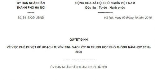Quyết định 5417/QĐ-UBND Hà Nội 2018 Kế hoạch tuyển sinh vào lớp 10 THPT năm học 2019-2020