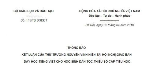 Thông báo 145/TB-BGDĐT về kết luận của Thứ trưởng Nguyễn Vinh Hiển tại Hội nghị giao ban dạy học tiếng Việt cho học sinh dân tộc thiểu số