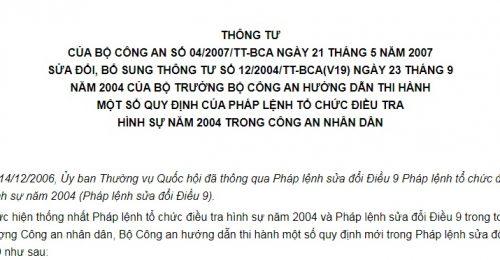 Thông Tư 04/2007/TT-BCA về  hướng dẫn thi hành một số quy định của Pháp lệnh tổ chức điều tra hình sự năm 2004
