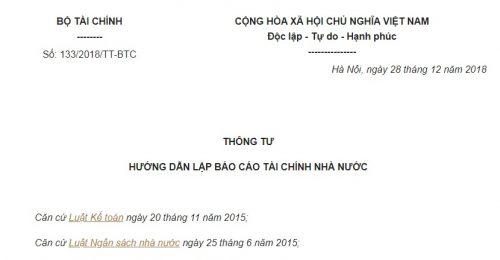 Thông Tư 133/2018/TT-BTC hướng dẫn lập Báo cáo tài chính Nhà nước