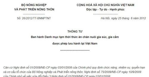 Thông Tư 26/2012/TT-BNNPTNT Danh mục tạm thời thức ăn chăn nuôi được phép lưu hành
