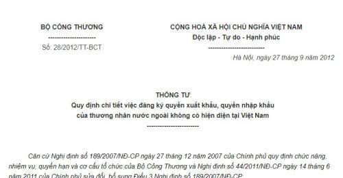 Thông Tư 28/2012/TT-BCT đăng ký quyền xuất nhập khẩu của thương nhân