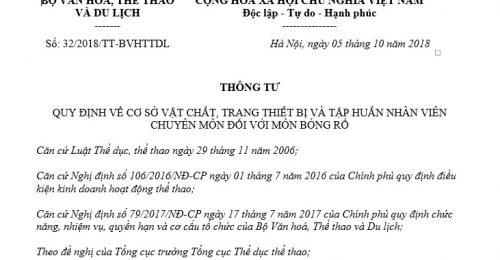 Thông Tư 32/2018/TT-BVHTTDL về cơ sở vật chất trang thiết bị với môn bóng rổ