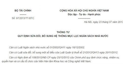 Thông Tư 97/2013/TT-BTC sửa đổi, bổ sung hệ thống Mục lục ngân sách Nhà nước