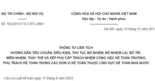 Thông Tư Liên Tịch 163/2013/TTLT-BTC-BNV về hướng dẫn tiêu chuẩn, thủ tục bổ nhiệm kế toán trưởng, phụ trách kế toán