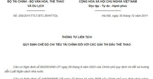 Thông tư liên tịch 200/2011/TTLT-BTC-BVHTTDL về việc quy định chế độ chi tiêu tài chính đối với các giải thi đấu thể thao