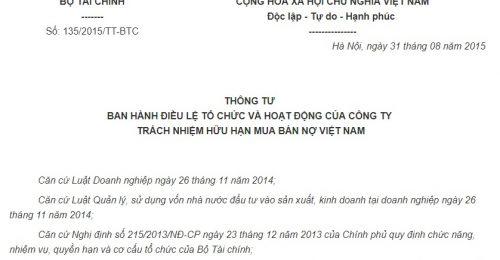 Thông tư 135/2015/TT-BTC Điều lệ của Công ty TNHH Mua bán nợ Việt Nam