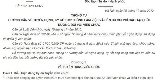 Thông tư 15/2012/TT-BNV về tuyển dụng, ký kết hợp đồng làm việc đối với viên chức
