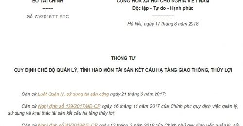 Thông tư 75/2018/TT-BTC về quản lý, tính hao mòn tài sản kết cấu hạ tầng giao thông, thủy lợi