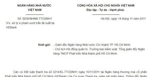 Công văn 8839/NHNN-TTGSNH1 của Ngân hàng Nhà nước Việt Nam về việc xử lý vi phạm vượt trần lãi suất tại HDBank