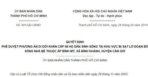 Quyết định 941/QĐ-UBND của Ủy ban nhân dân Thành phố Hồ Chí Minh về việc phê duyệt phương án di dời khẩn cấp 08 hộ dân sinh sống tại khu vực bị sạt lở đoạn bờ sông Nhà Bè thuộc ấp Bình Mỹ, xã Bình khánh, huyện Cần Giờ