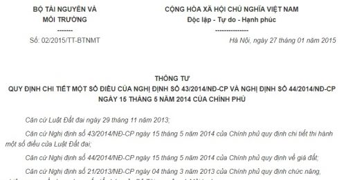 Thông Tư 02/2015/TT-BTNMT quy định chi tiết Nghị định 43/2014/NĐ-CP, 44/2014/NĐ-CP