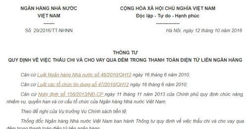 Thông Tư 29/2016/TT-NHNN thấu chi và cho vay qua đêm trong thanh toán điện tử