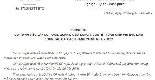 Thông tư 172/2012/TT-BTC về kinh phí đảm bảo công tác cải cách hành chính